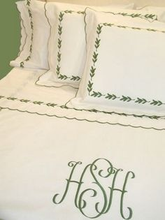Pique Leaf Embroidered Linens with Large Monogram and Custom Embroidery