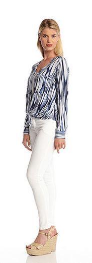 Beautiful Blues and Bright Whites! Bon Voyage Tie Front  Top #Karen_Kane #Bon_Voyage #Spring #Fashion #2014