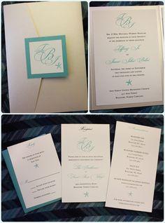 Tiffany Blue & Champagne Starfish & Monogram Metallic Pocketfold Traditional Wedding Invitations