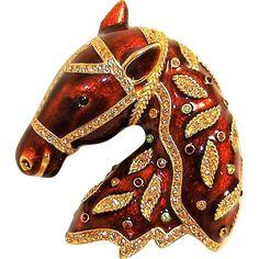 Vintage Ciner Horse Brooch Enamel Rhinestones