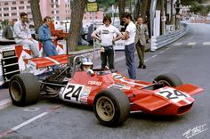 Piers Courage lining up for practice at the 1970 Monaco GP in Frank Williams's DeTomaso 505.  Courage was not to qualify that day.
