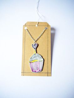 Pink CupCake necklace shrink plastic pendant hand by Floralchic, $17.00