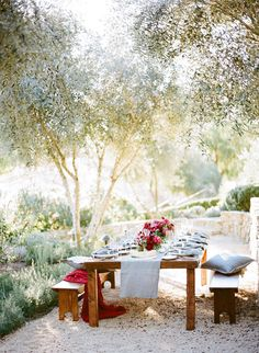 A simple color palette and table runner can do your outdoor space wonders.