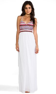 Pia Pauro Embroidered Halter Maxi Dress in White | REVOLVE
