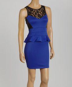 Love this 3R Street Wear Blue Sweetheart Neckline Meghan Peplum Dress by 3R Street Wear on #zulily! #zulilyfinds
