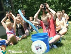 how to play water bucket relay games for kids which make such fun outside activities and summer party games. These relay races are easy to play and quick to organize.