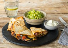 $40 off your first HelloFresh Box here: http://www.hellofresh.com/?c=MCHW9Z. Charred Zucchini & Bean Quesadillas with Fresh Romaine Salad & Lime Crema