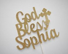 God Bless Christening Baptism Cake Topper Burlap & by justforkeeps
