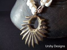 URSHY DESIGNS...BRONZE pendant and sea shell necklace. Artisan necklace with Antique pendant with a Contemporary twist. Indonisian Naga, Batak, Paupua, OOAK by Timbuktugallery on Etsy