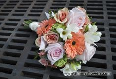 Bridal Bouquet- Clutch Style- Peach, pink, green, and white flowers.  Utah wedding flowers.