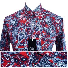 #Relco mens red #paisley print shirt new long sleeve mod retro #vintage skin 60s,  View more on the LINK: http://www.zeppy.io/product/gb/2/281946971121/