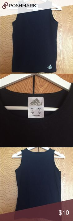 Adidas black tank top w/logo Sz L more like a S/M Adidas black Sz M logo tank. Tags says L - Washed and worn 5X . Could be paired with my adidas tennis skort ? Ck it out! adidas  Tops Tank Tops