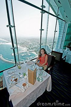 Ocean view from the top of Dubai Burj Al Arab Restaurant.