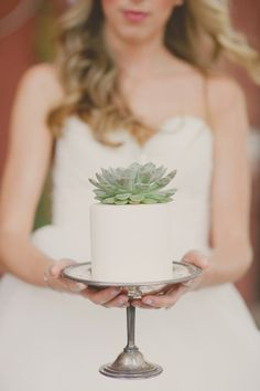 Succulents are a popular choice for the DIY bride. They add beautiful texture and color to bouquets and other wedding flower arrangements, and even look great as a cake topper, as shown here. Shop fresh cut succulents year-round at GrowersBox.com!