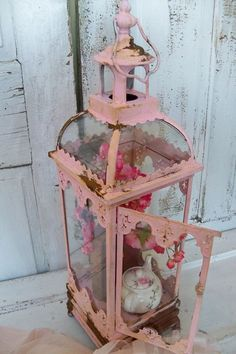 Pink Shabby Chic Display Case Glass And Metal Vitrine Rusted Distressed Large…