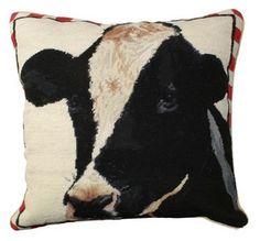 Holstein Needlepoint Pillow Pillows - More Animals - Pillows - Misc - By Michaelian Home #NCU197 at Horse and Hound Gallery