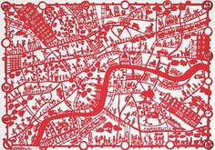 This print is based on an original Famille Summerbelle hand paper cut of London. It shows detail of the central boroughs of London with the attractions and cultural pursuits that make London so special. England