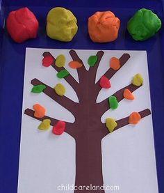 childcareland blog: Fall Playdough Leaf Tree