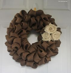 Brown Burlap Wreath with Burlap Flowers, Fall Wreath, Thanksgiving Wreath, Home Decor on Etsy, $50.00
