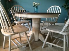 Pedestal Table painted in gray/white wash and java stain on top
