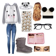 """""""Panda"""" by hannahsdisney on Polyvore featuring UGG, Casetify, Monki and Hershesons"""