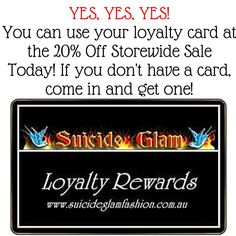 It's Suicide Glams last day of their 20% Off Storewide Stocktake Sale! They're open 10am – 2pm. They're closed Monday 8th for the Public Holiday and Stocktake. Happy Shopping! Facebook:- https://www.facebook.com/suicideglamaustralia