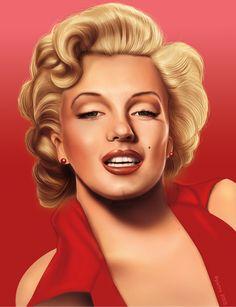 Marilyn Monroe by Pietro Chiappinelli, via Behance (digital portrait, digital art)