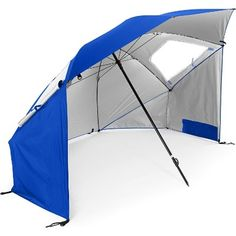 The SUPER-BRELLA by Sport-Brella is an ideal beach umbrella, sun tent, rain shelter and more. It gives you instant portable protection from the sun, rain, and wind with UPF quick shade protection. Sets up super fast and can fit your entire family.