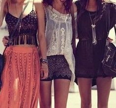 Girl Time!!  Edgy Boho Chic Fashion. For more ideas of layering your modern hippie fashions FOLLOW http://www.pinterest.com/happygolicky/the-best-boho-chic-fashion-bohemian-jewelry-gypsy-/