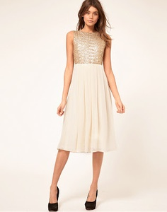 Very pretty gold and ivory sequin and pleat dress
