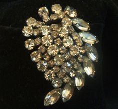 Vintage Large Silver Tone and Clear Rhinestone Paisley Shape Concave Pin Brooch #Unbranded