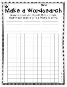 Spelling Activities {a Freebie} - Make a Wordsearch printable sheet, activity for kids to work in pairs