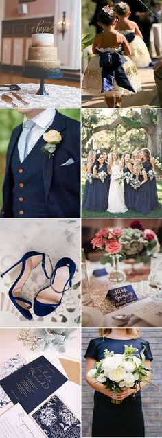 Navy is such a great color to include in your wedding look. It is a very elegant neutral that comes to life when added to almost any other shade. Today we're feeling a little festive and adding glamorous gold and winter white for a look that is chic and modern, whilst still being timeless and flattering
