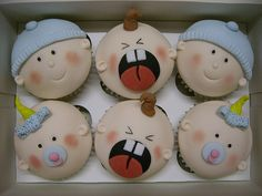 cupcakes for a baby shower. Baby Cakes, Baby Shower Cakes, Baby Girl Cupcakes, Baby Cupcake, Cupcakes For Boys, Cute Cupcakes, Baby Boy Shower, Fondant Cupcakes, Cupcake Cakes