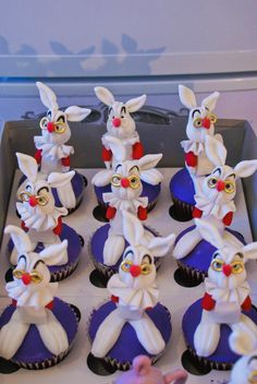 Alice in Wonderland Rabbit Cupcakes - Red velvet cupcakes with gumpaste rabbits!