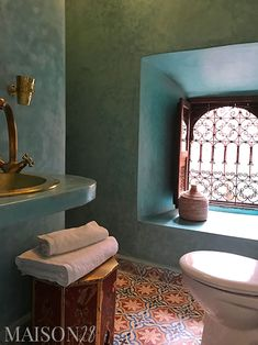 Moroccan tadelakt plaster in a bathroom at Maison 28 riad in Marrakech, Morocco. The pretty Nayla su Bad Inspiration, Bathroom Inspiration, Bathroom Styling, Bathroom Interior Design, Moroccan Bathroom, Moroccan Tiles, Moroccan Decor, Shower Suites, Rustic Chic Decor