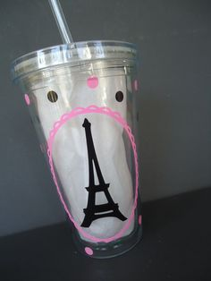 This 16 ounce tumbler includes a twist off lid and straw. It is made of double walled acrylic- no rings on your table or messy sweating cup!