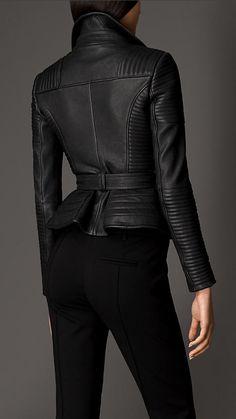 Zip Detail Leather Biker Jacket | Burberry
