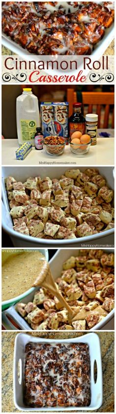Cinnamon Roll Casserole, so easy yet so delicious!! | MrsHappyHomemaker.com @thathousewife