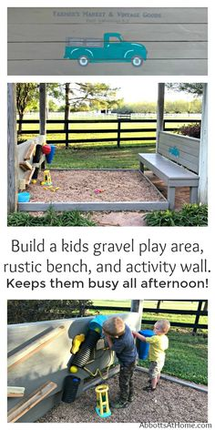 How I built a kids gravel play area, rustic bench, and outdoor activity wall. Keeps kids busy for hours without the mess of sand.