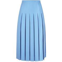 Victoria Beckham Pleated Midi Skirt ($1,735) ❤ liked on Polyvore featuring skirts, a line midi skirt, crepe skirt, blue midi skirts, blue skirts and box pleat midi skirt