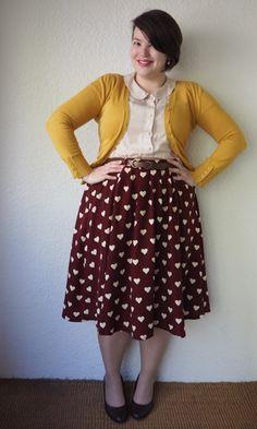 Frocks & Frou-Frou DIY: Made-it-Myselfcloth DIY remake of breathtaking tiger lillies modcloth skirt Curvy Fashion, Modest Fashion, Plus Size Fashion, Girl Fashion, Fashion Outfits, Punk Fashion, Lolita Fashion, Elegante Y Chic, Librarian Style