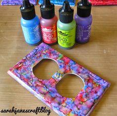 Sarah Jane's Craft Blog: Alcohol Ink Switch Plates