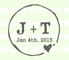 Rustic Round Custom Wedding Stamp Initials and by ThePrintMint $26.95 for rubber or self-inking stamp
