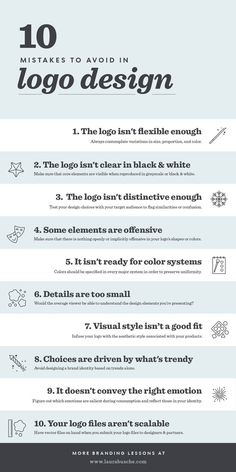 10 Logo Design Mistakes You Must Avoid in 2019 [Infographic] The Effective Pictures We Offer You About creative career A quality picture can tell you many things. Web Design, Logo Design Tipps, Branding Design, Design Basics, Best Logo Design, Graphic Design Lessons, Graphic Design Tutorials, Logo Design Tutorial, Graphic Designers