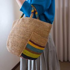 Sans Arcidet/サンアルシデ ANUANUA #THE LUX   Lin total fashion place blog Crochet World, Crochet Yarn, Crochet Hooks, Handmade Handbags, Handmade Bags, Diy Sac Cabas, Knit Basket, Linen Bag, Crochet Handbags