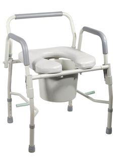 Drive Medical 11125PSKD-1 Steel Drop Arm Bedside Commode W/ Padded Seat & Arms