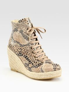 9bad5620385 Stella Mccartney Lace-up Snake-print Wedge Ankle Boots