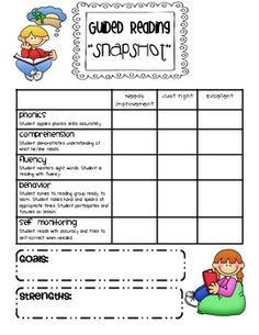 "Use these forms to get a quick ""snapshot"" assessment of your students during guided reading."