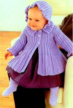 Lilac coat matinee coat for baby vintage knitting pattern PDF Knitting For Kids, Baby Knitting Patterns, Baby Patterns, Double Knitting, Crochet Patterns, Crochet Saco, Baby Girl Purple, Baby Girls, Girl Swinging